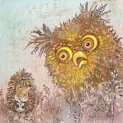 Картины и панно ручной работы. Ярмарка Мастеров - ручная работа Ёжик и сова ( батик панно)РЕЗЕРВ. Handmade.