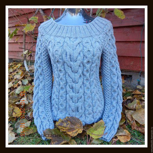 Кофты и свитера ручной работы. Ярмарка Мастеров - ручная работа. Купить Женский вязаный свитер. Handmade. Серый, косы, объемный
