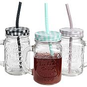 Материалы для творчества handmade. Livemaster - original item Glass jar mug with handle and colored metal. cover, glass. Handmade.