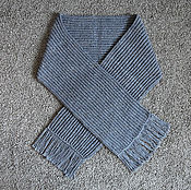 Аксессуары handmade. Livemaster - original item A wide scarf knitted from sheep`s wool, gray. Handmade.