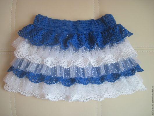 """Одежда для девочек, ручной работы. Ярмарка Мастеров - ручная работа. Купить """"Нежность"""" Юбочка крючком для девочки. Handmade. Синий"""