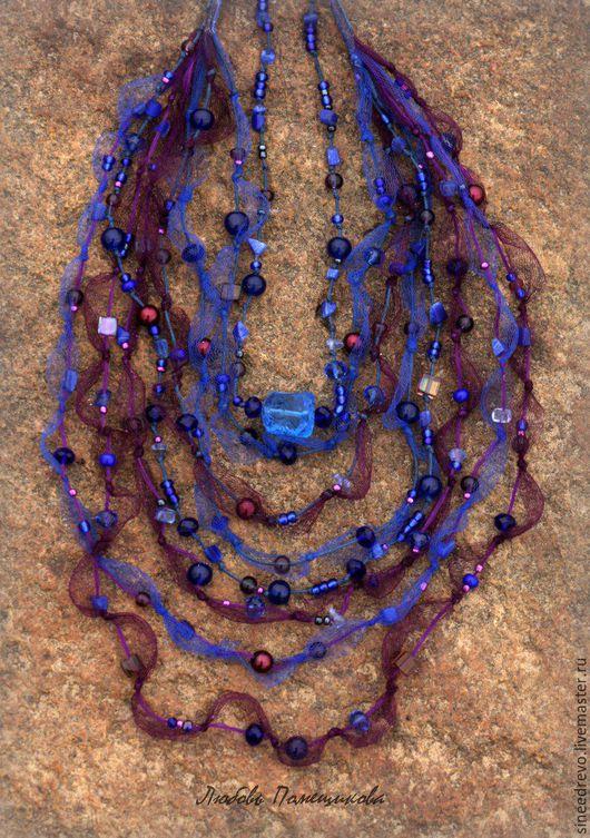 """Колье, бусы ручной работы. Ярмарка Мастеров - ручная работа. Купить Ожерелье и браслет """"Тайные ночи """". Handmade. сеточка"""