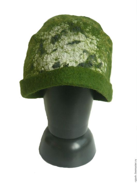 Шарфы и шарфики ручной работы. Ярмарка Мастеров - ручная работа. Купить Шапка из шерсти с шелком. Handmade. Тёмно-зелёный, шапка