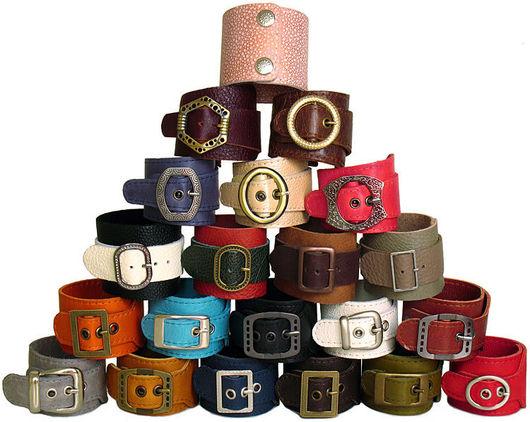 Браслеты ручной работы. Ярмарка Мастеров - ручная работа. Купить кожаные браслеты на кнопках и пряжках. Handmade. Браслет