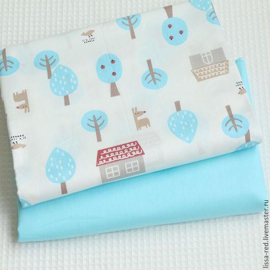 Шитье ручной работы. Ярмарка Мастеров - ручная работа. Купить Набор ткани ДОМИКИ голубой  В НАЛИЧИИ. Handmade.