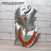 Украшения handmade. Livemaster - original item Bright jewelry set with jadeite