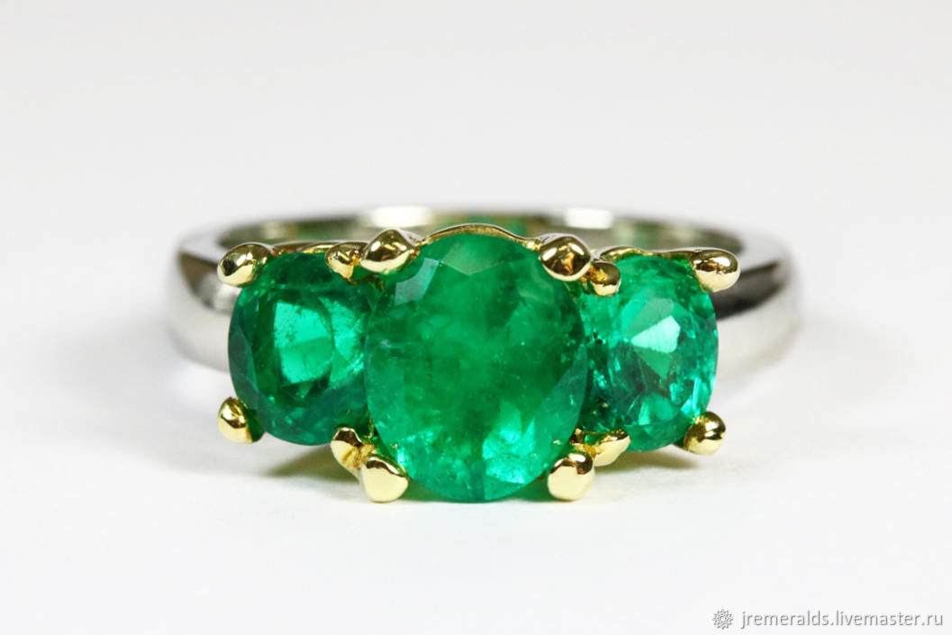 3.50tcw Colombian Emerald Two Tone Gold Ring 18k, Three Stone Emerald, Rings, West Palm Beach,  Фото №1