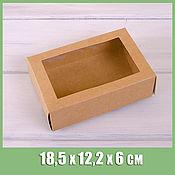 Коробки ручной работы. Ярмарка Мастеров - ручная работа Коробка для макаронс на12 шт,18,5х12,2х6 см, с окошком, крафт. Handmade.