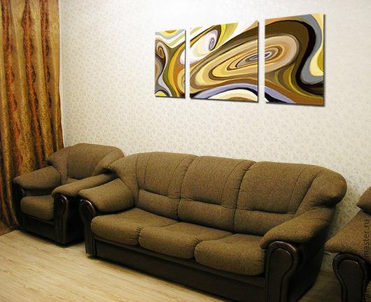 """Абстракция ручной работы. Ярмарка Мастеров - ручная работа. Купить Триптих """"Улитка"""". Handmade. Психоделика, в гостиную, на стену, для интерьера, коричневый"""