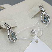 Украшения handmade. Livemaster - original item Silver earrings with 6h4 mm topaz and cubic zirconia. Handmade.