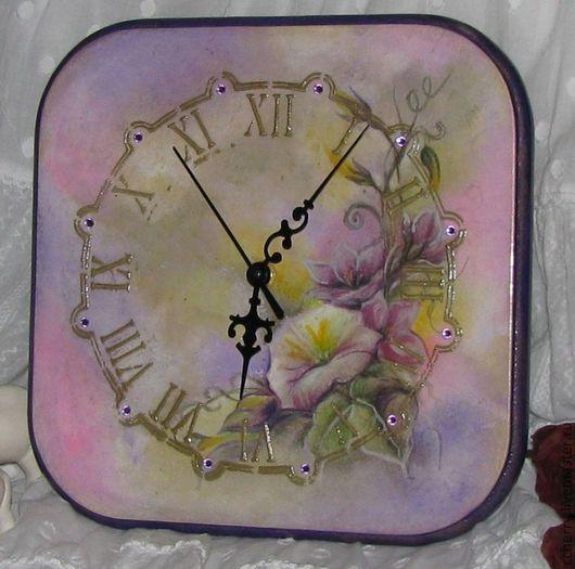 """Часы для дома ручной работы. Ярмарка Мастеров - ручная работа. Купить Часы """"Сказка лиловых вьюнков"""". Handmade. Бледно-сиреневый"""