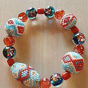 Украшения ручной работы. Ярмарка Мастеров - ручная работа Летний браслет на резинке - японский бисер и лэмпворк. Handmade.