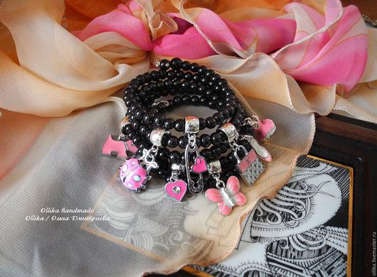 Браслет Восемь Причин, черно-розовый многорядный ollika handmade, ollika Ольга Дмитриева