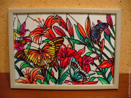 Картины цветов ручной работы. Ярмарка Мастеров - ручная работа. Купить Бабочки. Handmade. Лето, бабочки, витражные краски, стразы