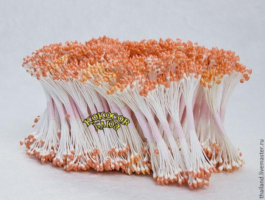 Бело-оранжевые каплевидные тычинки 100 пучков, Кокосов блюз. Материалы для флористики из Таиланда