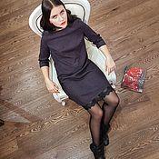 Одежда ручной работы. Ярмарка Мастеров - ручная работа Шерстяное платье с кружевом, серое фиолетовое платье мини из шерсти. Handmade.