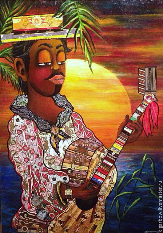 Люди, ручной работы. Ярмарка Мастеров - ручная работа. Купить Кубинская песня-2. Handmade. Гитара, пальма, солнце, холст