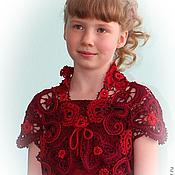 Одежда ручной работы. Ярмарка Мастеров - ручная работа Красное кружевное болеро для девочки. Handmade.
