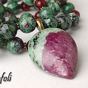 Украшения handmade. Livemaster - original item Necklace with pendant corundum with zoisite. Handmade.