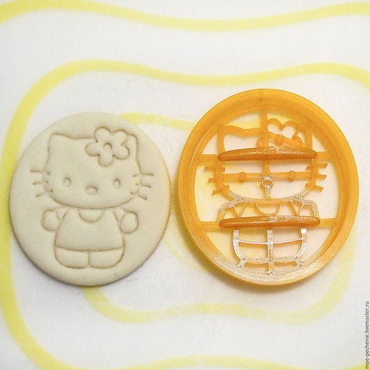 Китти.  Вырубка и штамп для пряников, печенья, мастики, поделок из соленого теста. Образец оттиска на соленом тесте.