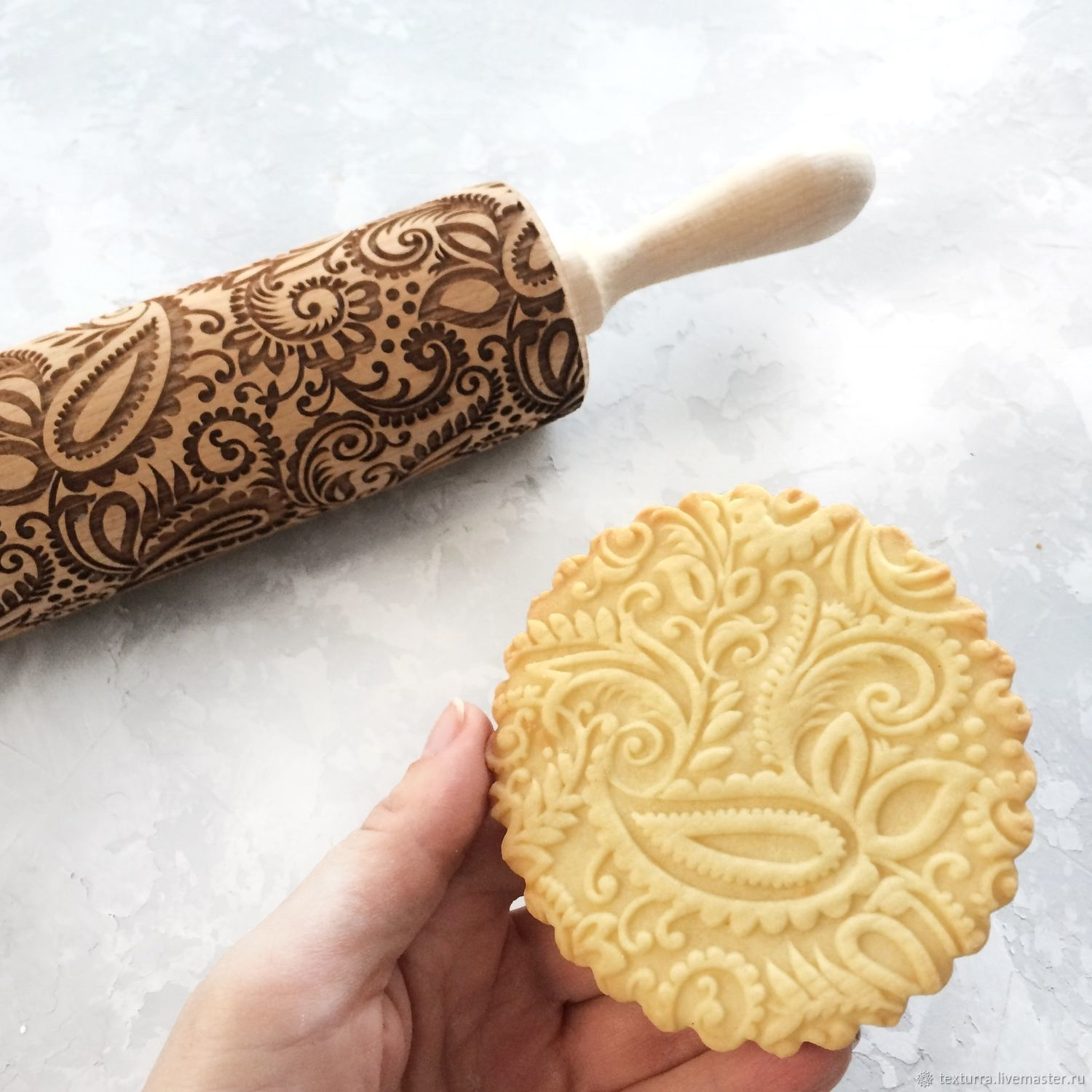 Paisley Embossing Rolling Pin Laser Engraved Rolling