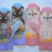 Аксессуары handmade. Livemaster - original item Mittens felted Murkina spring, warm winter mittens with cats. Handmade.