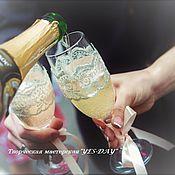 """Свадебный салон ручной работы. Ярмарка Мастеров - ручная работа Свадебные бокалы """"На счастье!""""- 2 шт 500р. Handmade."""