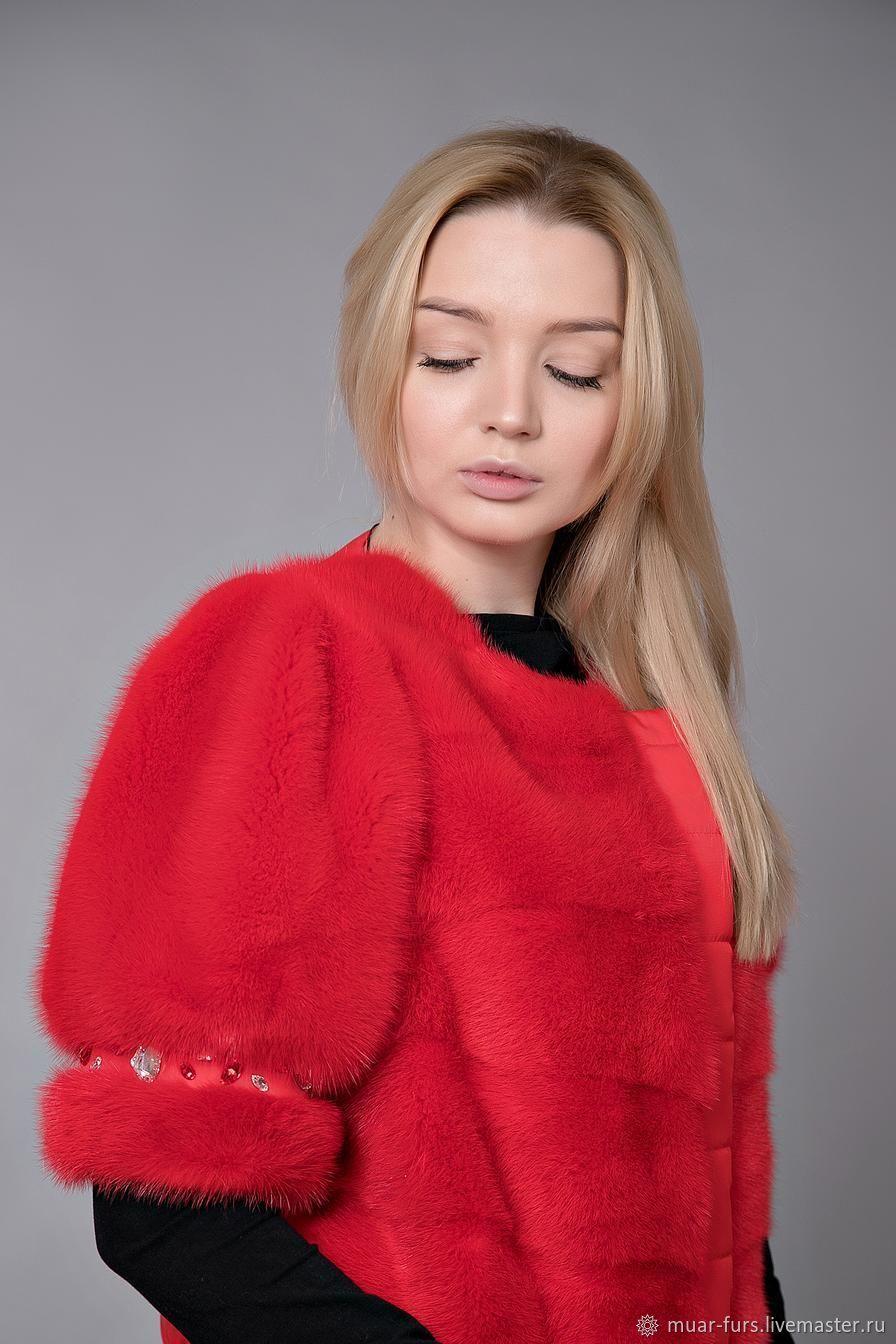 Vest of mink 'Lady in Red'. Mink vest. Vest of mink, Fur Coats, Kirov,  Фото №1