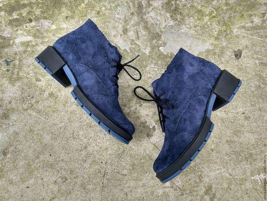 Обувь ручной работы. Ярмарка Мастеров - ручная работа. Купить Женские ботинки Anna Chaqrua. Handmade. Тёмно-синий