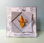 Открытки handmade. Livemaster - original item !The handmade card, ORIGAMI, Follow your dreams. Handmade.