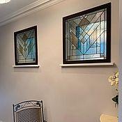Для дома и интерьера handmade. Livemaster - original item stained glass Tiffany. Geometric stained glass windows in a window with a frame. Handmade.