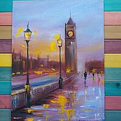 Картины и панно handmade. Livemaster - original item London oil painting; Evening London painting for interior. Handmade.