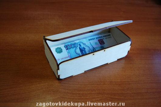 Купюрница  (продается в разобранном виде в палетках) Не комплектуется фурнитурой Размер 17х9х6 см  Материал: фанера 3 мм