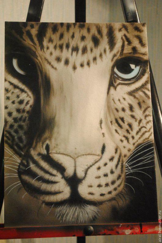 Животные ручной работы. Ярмарка Мастеров - ручная работа. Купить Картина Леопард. Handmade. Комбинированный, рисунок на ткани, рисунок в рхподарок