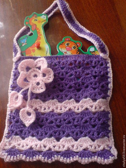 Детская вязаная сумочка  поднимет настроение маленькой  моднице!  Ажурно и красиво! можно под заказ в любом цвете