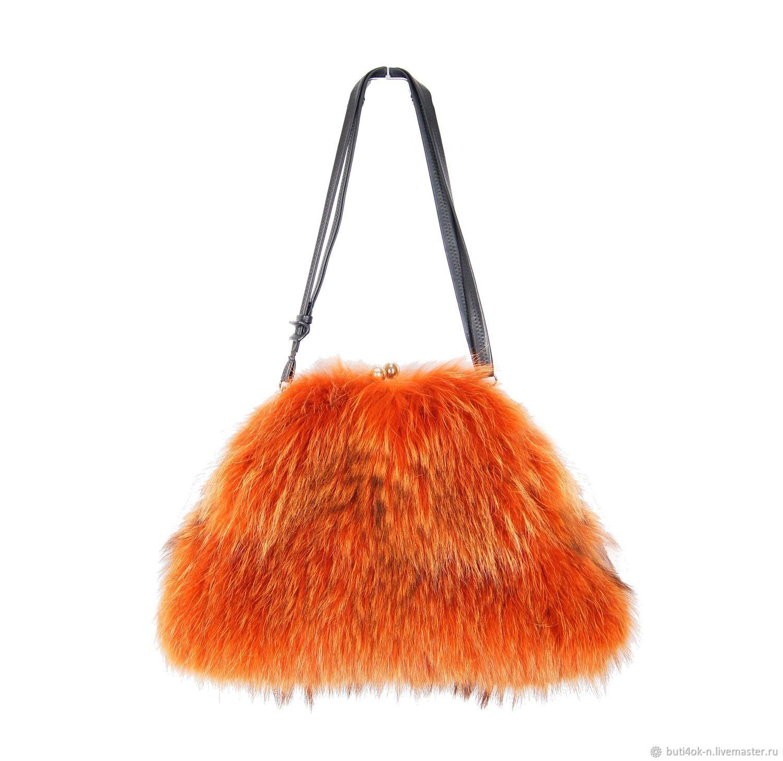 Handbags handmade. Livemaster - handmade. Buy Bag clasp made of genuine raccoon fur.Bag handmade, red bag