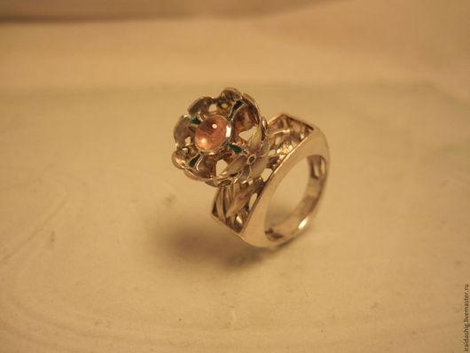 """Кольца ручной работы. Ярмарка Мастеров - ручная работа. Купить кольцо """"Орхидеи"""". Handmade. Розовый, кольцо с эмалью, натуральные камни"""