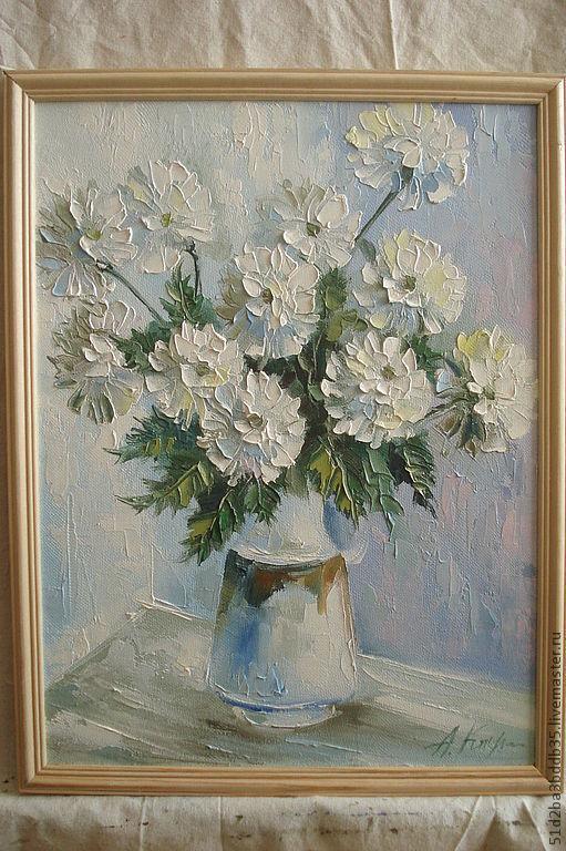 Картины цветов ручной работы. Ярмарка Мастеров - ручная работа. Купить Цветы утром. Handmade. Белый, картина для интерьера