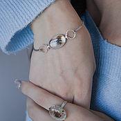 Украшения handmade. Livemaster - original item Silver bracelet with landscape chalcedony. Handmade.