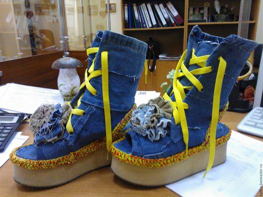 """Обувь ручной работы. Ярмарка Мастеров - ручная работа. Купить Летние ботиночки """"Оранжевое настроение"""". Handmade. Синий"""