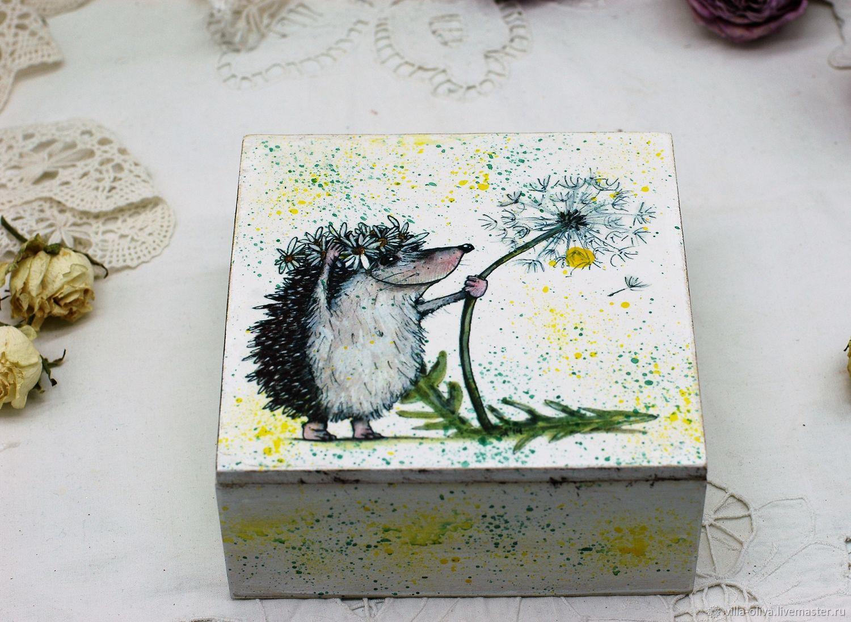 Box funny hedgehog with dandelion, Box, Moscow,  Фото №1