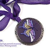 Украшения handmade. Livemaster - original item Embroidered pendant Purple heart. Handmade.