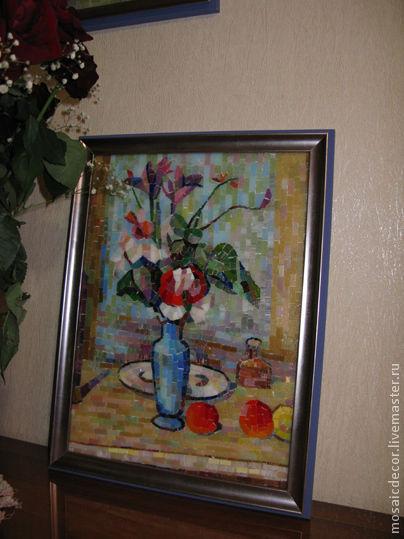 Картины цветов ручной работы. Ярмарка Мастеров - ручная работа. Купить Натюрморт , копия картины в мозаике. Handmade. Натюрморт