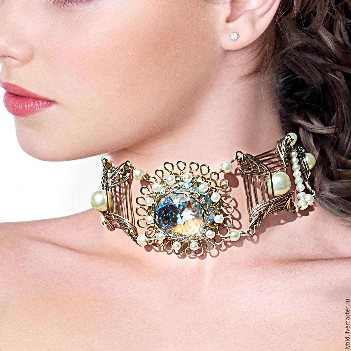 Choker with large Swarovski crystal and pearl beads, Chokers, Varna,  Фото №1