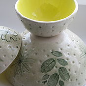"""Посуда ручной работы. Ярмарка Мастеров - ручная работа Пиалы и чаша """"Лимонное настроение"""" набор, керамика. Handmade."""