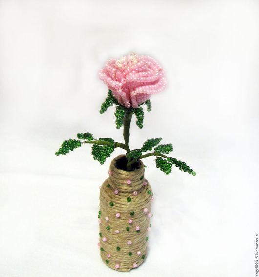 Цветы ручной работы. Ярмарка Мастеров - ручная работа. Купить Роза из бисера.  Интерьерная композиция. Handmade. Розовый, интерьерный букет