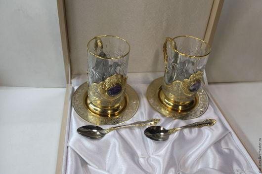 Бокалы, стаканы ручной работы. Ярмарка Мастеров - ручная работа. Купить Чайная пара.. Handmade. Золотой, чай, никель
