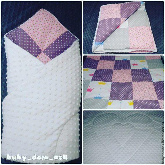 Для новорожденных, ручной работы. Ярмарка Мастеров - ручная работа. Купить Плед-одеяло-конверт на выписку. Handmade. Розовый