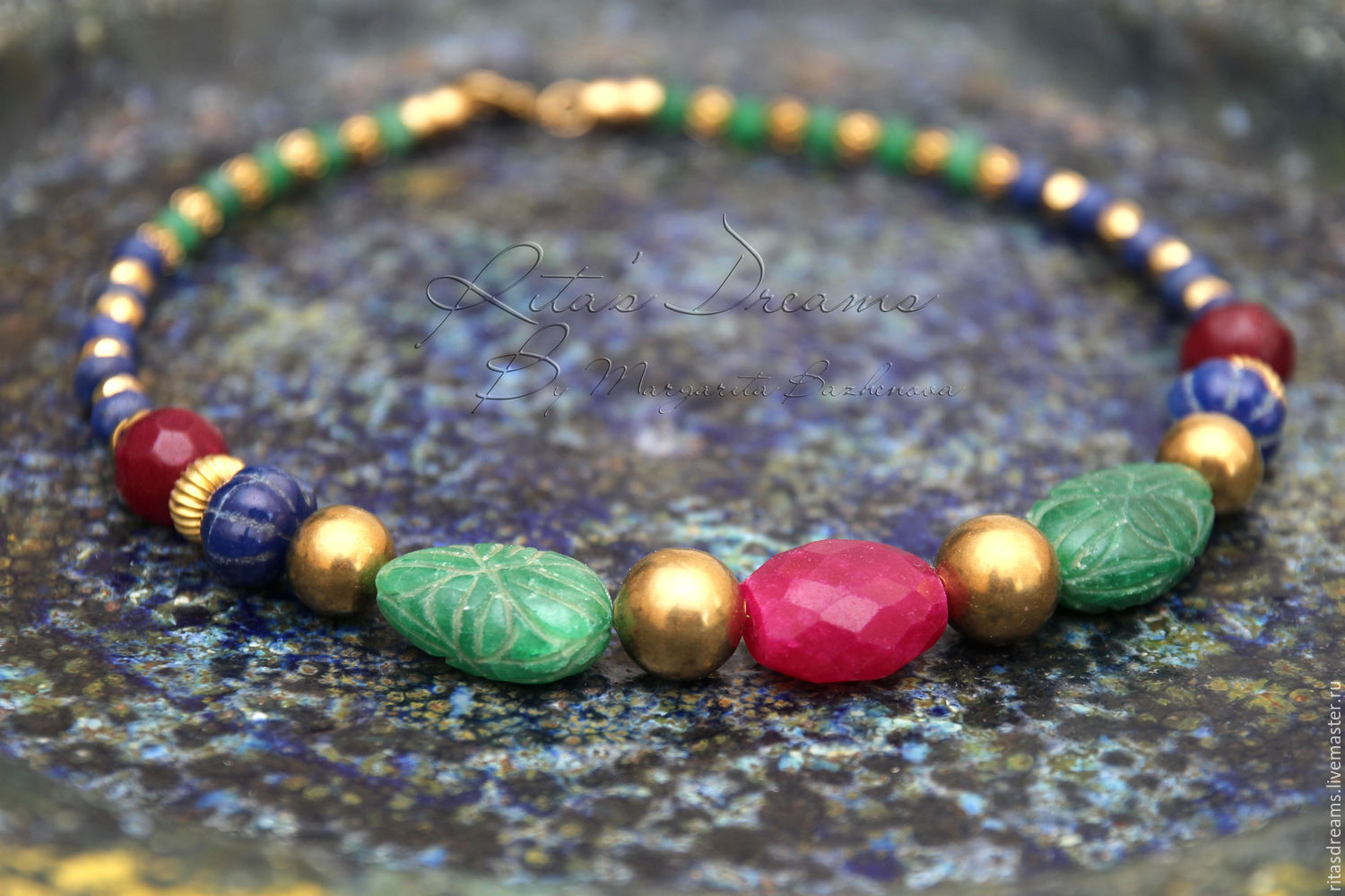 Beads India With Emeralds Sapphires And Rubies Brass