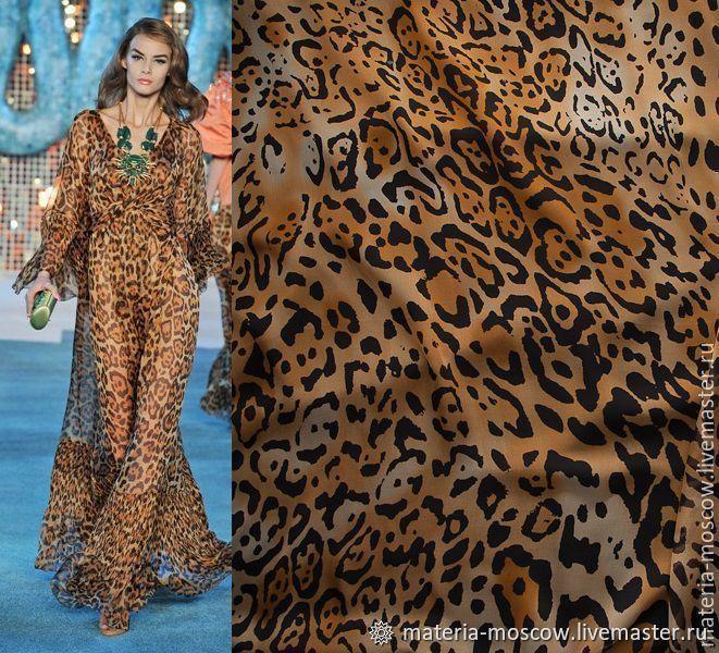 Шифон 100% шелк Леопард рыжий черный Италия Артикул: L073020